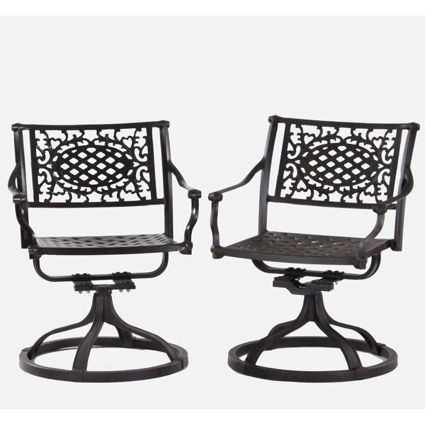 Britni Swivel Patio Dining Chair (Set of 2) by Fleur De Lis Living