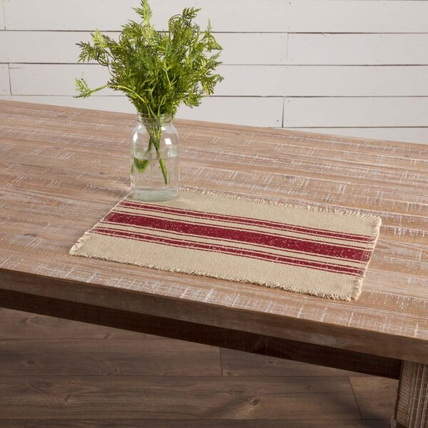 Lema Vintage Burlap Stripe Placemat (Set of 6) by Gracie Oaks