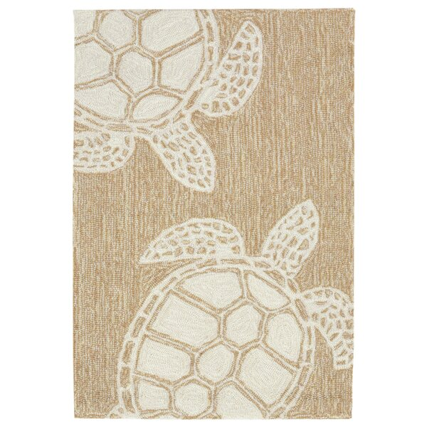 Claycomb Turtle Hand-Tufted Natural Indoor/Outdoor Area Rug by Highland Dunes