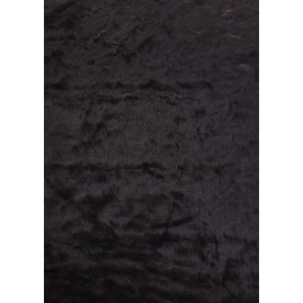 Tegan Faux Fur Black Area Rug by Rosdorf Park