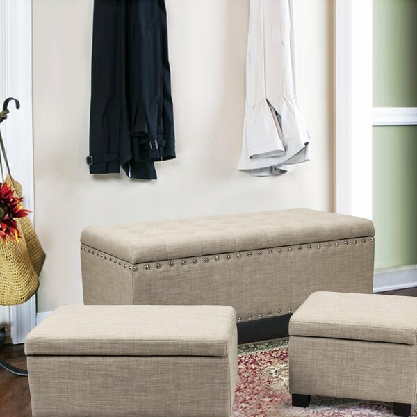 Home 3 Piece Storage Ottoman Set by Adeco Trading