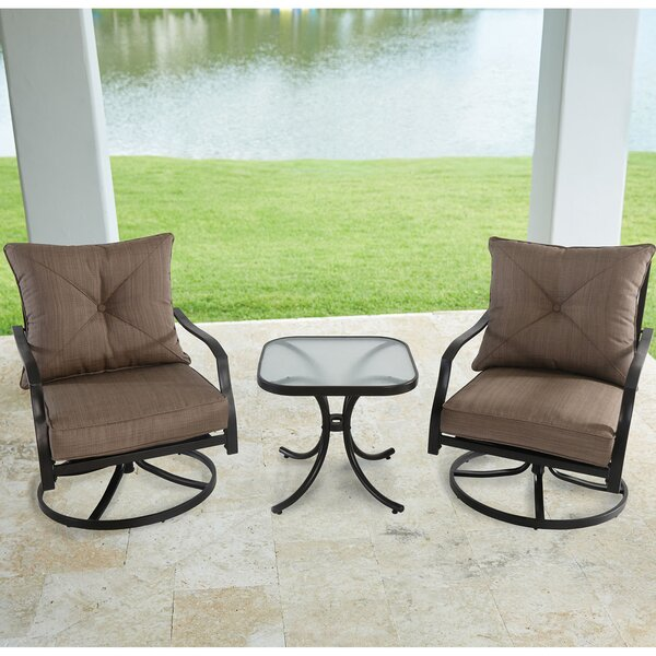 Keensburg Swivel 3 Piece Bistro Set with Cushions