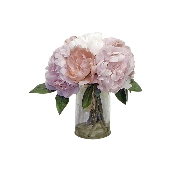 Bouquet Peony Centerpiece in Glass Vase by Ophelia & Co.