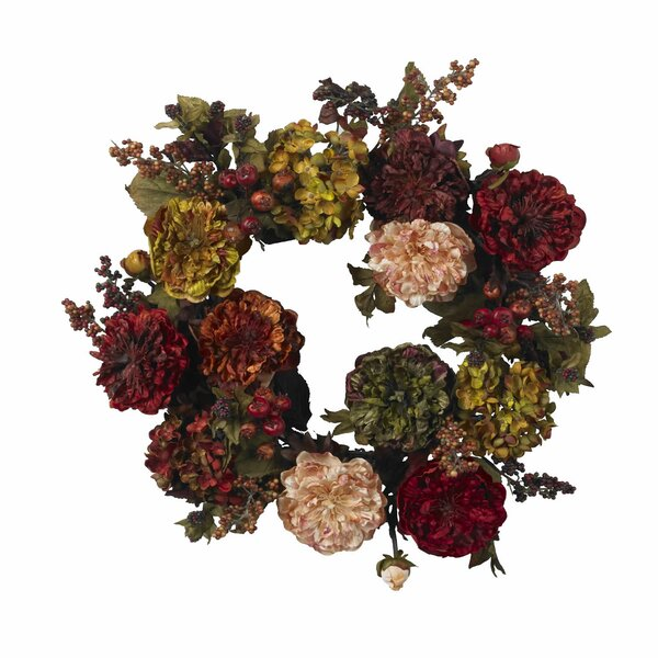 Autumn Hydrangea Peony Wreath by Nearly Natural