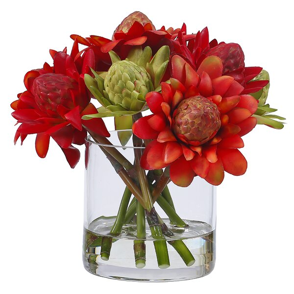 Waratah Blossom Centerpiece in Glass Vase by Red Barrel Studio
