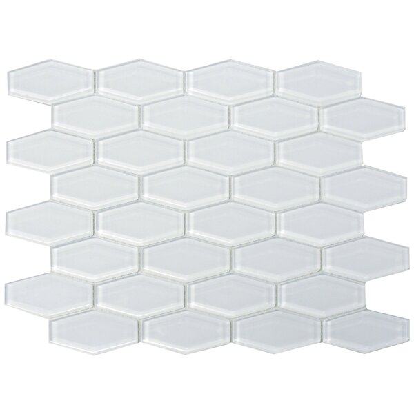 3 x 1 Shiny Hexagon Tile in Snow by The Bella Collection