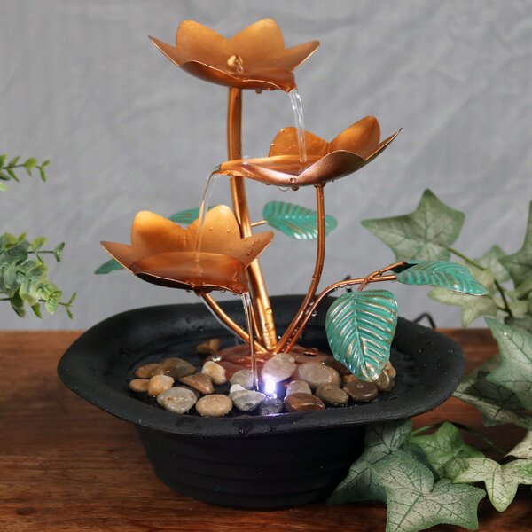 Resin/Metal Blossom Cascading Tabletop Fountain with Light by Wildon Home ®