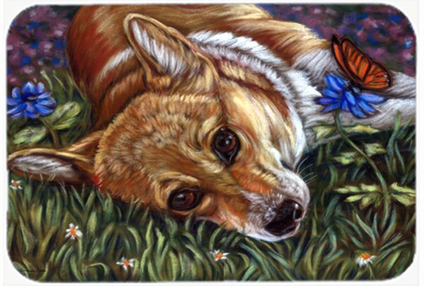 Corgi Pastel Butterfly Kitchen/Bath Mat by Caroline's Treasures