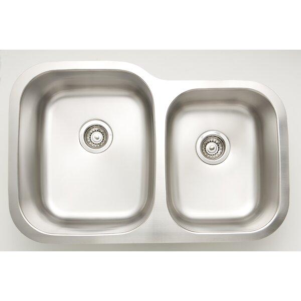 30 L x 9 W Double Basin Undermount Kitchen Sink with Basket Strainer