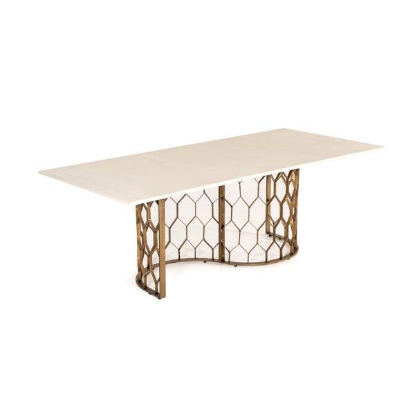 Ronny Concrete & Brass Dining Table by Mercer41 Mercer41