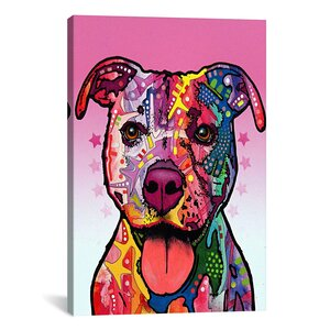 'Cherish The Pit Bull' by Dean Russo Graphic Art on Canvas by Latitude Run