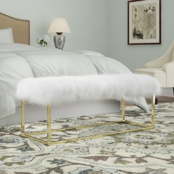 Justus White Sheepskin Bench in Gold by Everly Quinn