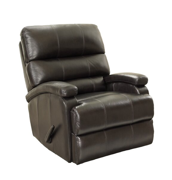 Detrick Leather Manual Rocker Recliner by Barcalou
