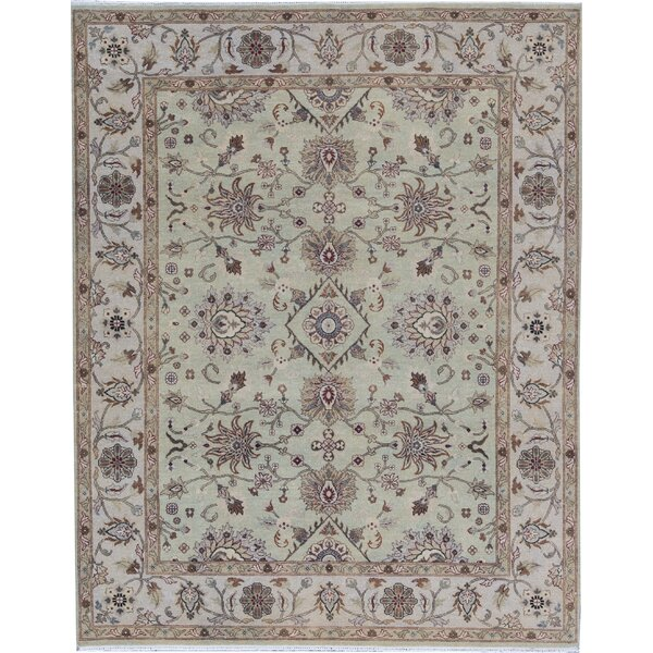 Cornwall Handmade Hand-Knotted Wool Light Green/Ivory Rug