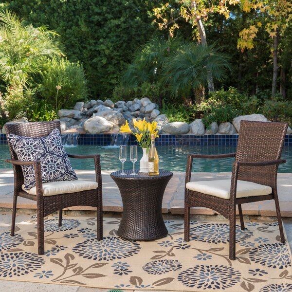 Ault 3 Piece Conversation Set with Cushions by Wrought Studio