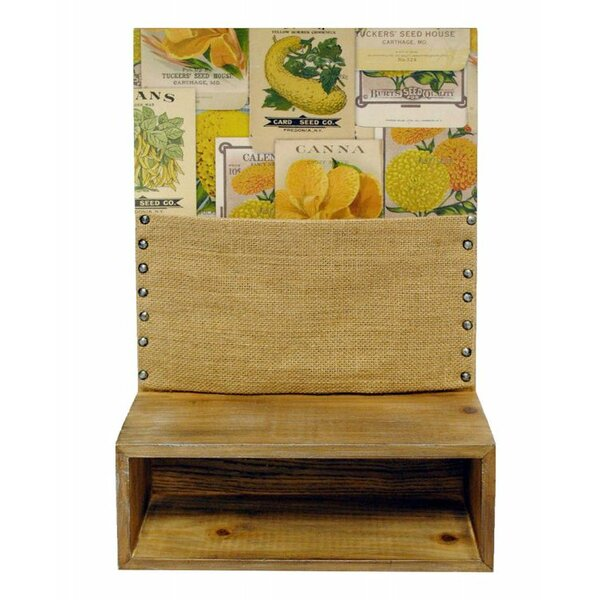Framed Burlap Pinboard Wall Accent Shelf by New View Gifts and Accessories