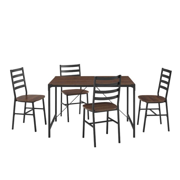Enrique Industrial Angle 5 Piece Dining Set by Gracie Oaks Gracie Oaks