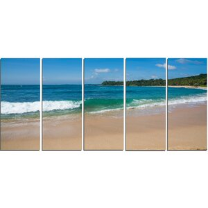 'Green Wave on Sandy Paradise Beach' 5 Piece Photographic Print on Wrapped Canvas Set by Design Art