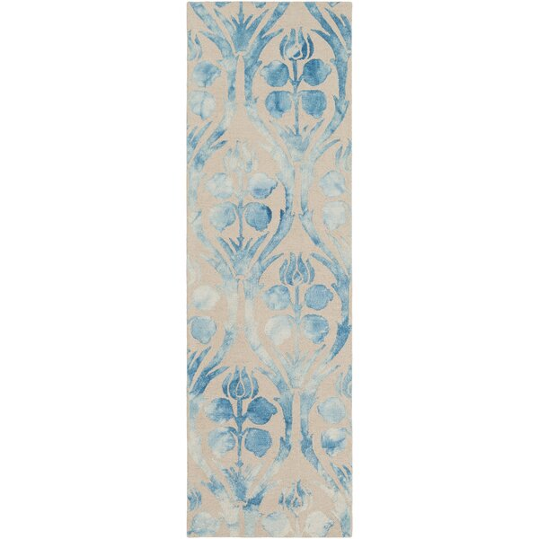 Baconton Floral Handmade Tufted Wool Beige/Bright Blue Area Rug