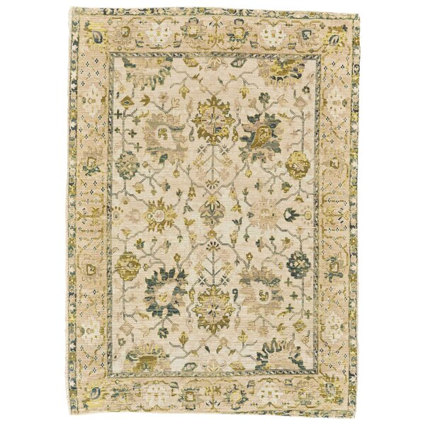 Ricard Hand-Woven Green/Beige Area Rug by Charlton Home