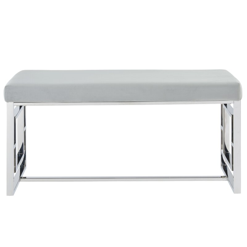 Admirable Melendez Stainless Steel Upholstered Bench Theyellowbook Wood Chair Design Ideas Theyellowbookinfo