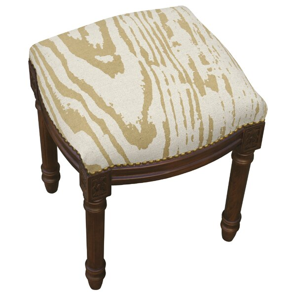 Frey Faux Bois Linen Upholstered Vanity Stool by Bungalow Rose