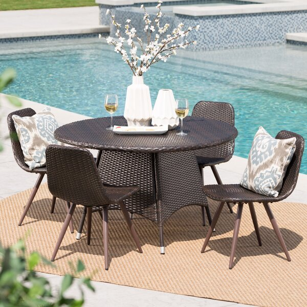 Bigby Outdoor Wicker 5 Piece Dining Set by Ivy Bronx