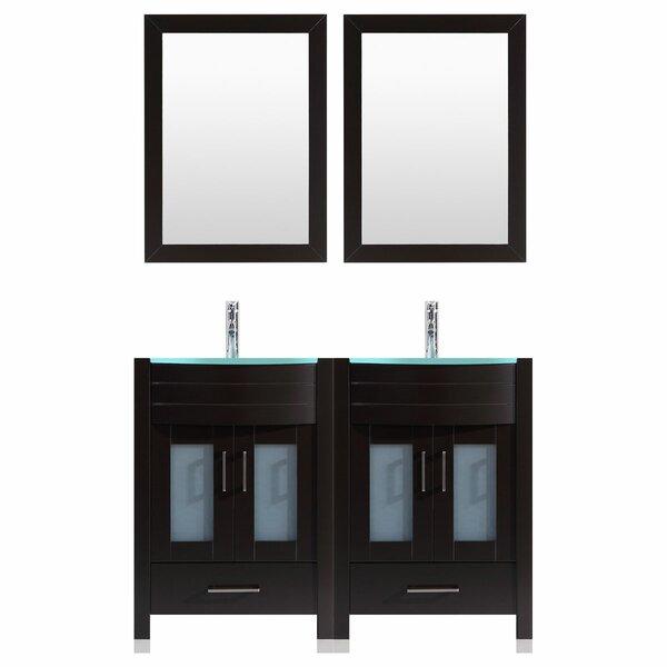 Marguez 72 Double Bathroom Vanity Set with Wood Frame Mirror