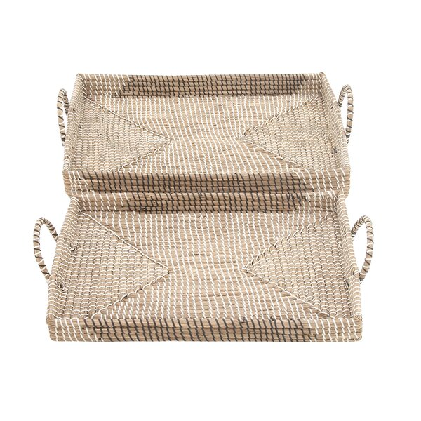 Seagrass 2 Piece Accent Tray Set by Cole & Grey
