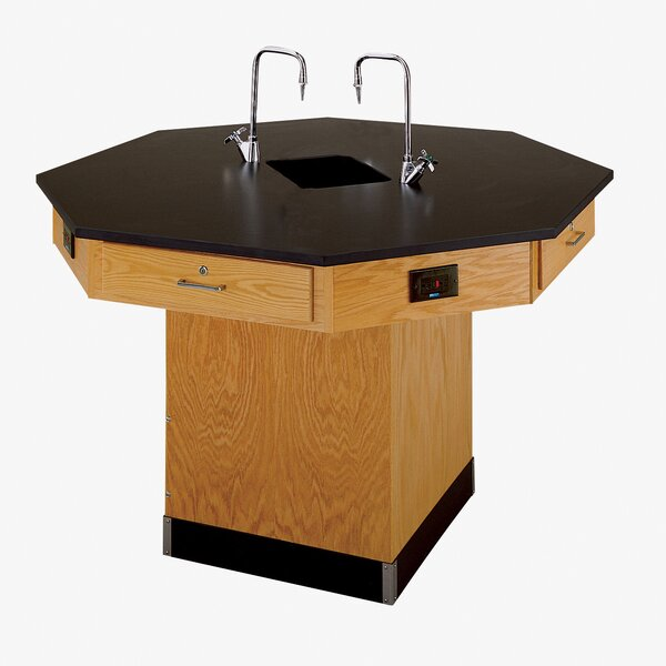 Octagon Workstation with Pedestal Base and Gas/Water Fixtures by Diversified Woodcrafts