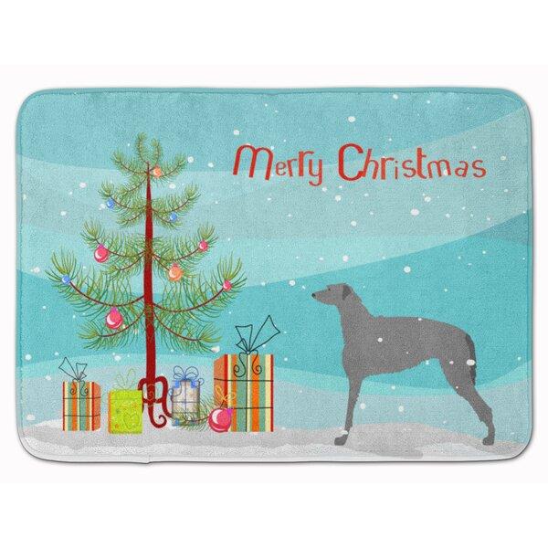 Scottish Deerhound Merry Christmas Tree Memory Foam Bath Rug