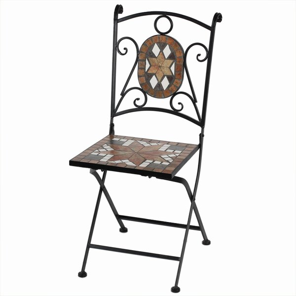 Willmon Mosaic Metal Folding Patio Dining Chair by Fleur De Lis Living