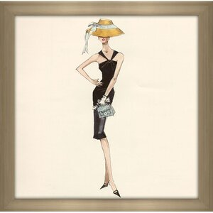 Barbie®™ in Black Dress with Straw Hat by Robert Best Framed Painting Print by Picture Perfect International