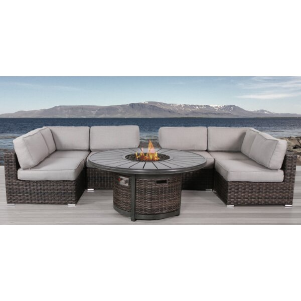 Eldora 8 Piece Sectional Sectional Seating Group with Cushions by Sol 72 Outdoor