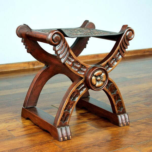 Baroque Peru Tooled Leather and Wood Accent Stool by Novica