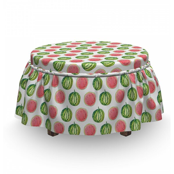 Melon Tropic Summer Fruit 2 Piece Box Cushion Ottoman Slipcover Set By East Urban Home