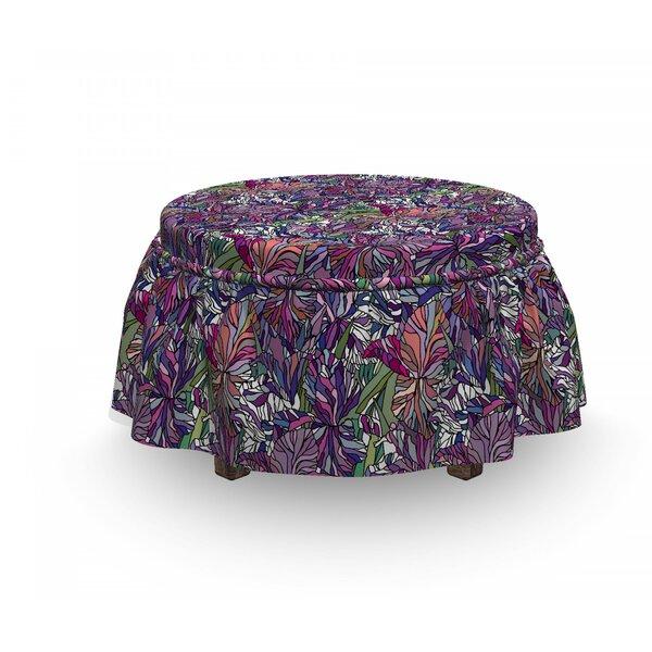 Floral Tropical Jungle Bouquet 2 Piece Box Cushion Ottoman Slipcover Set By East Urban Home
