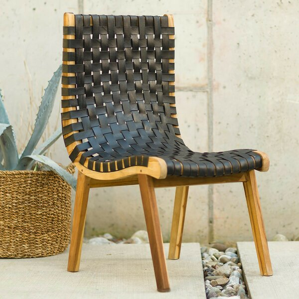 Pierro Teak and Recycled Rubber Patio Chair by Union Rustic
