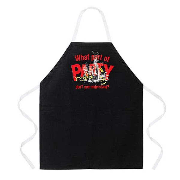 What Part of Party Apron in Black by Attitude Aprons by L.A. Imprints