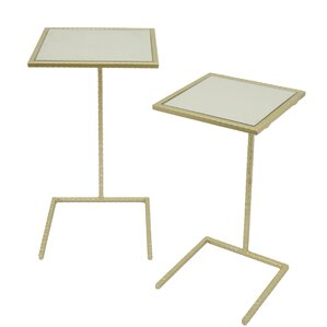 Square Metal Mirror Top 2 Piece Nesting Tabl..