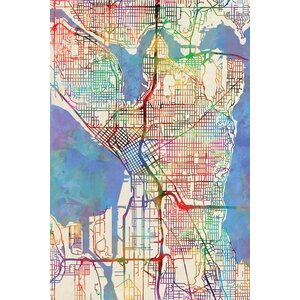 Urban Rainbow Street Map Series: Seattle, Washington, USA Graphic Art on Wrapped Canvas by East Urban Home