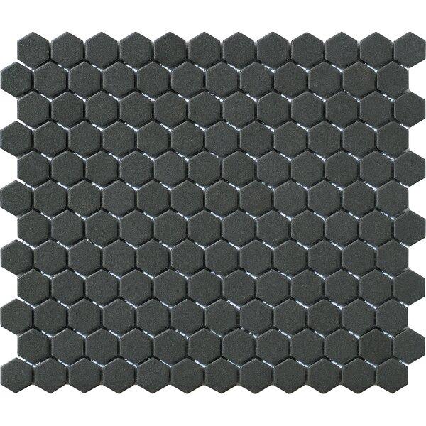 Urban Unglazed 1 x 1 Porcelain Mosaic Tile in Black Hexagon by Walkon Tile