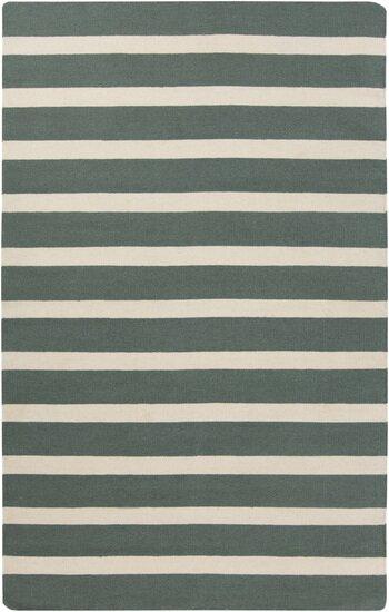 Kramer Ivory/Deep Sea Green Striped Area Rug by Winston Porter
