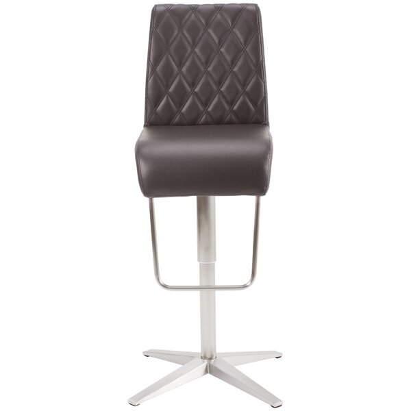 Helfer High-Back Adjustable Height Swivel X Base Bar Stool by Orren Ellis