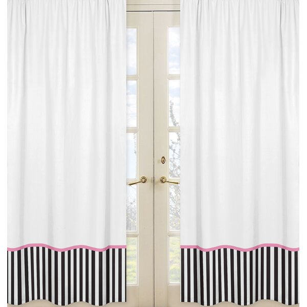 Paris Striped Semi-Sheer Rod pocket Curtain Panels (Set of 2) by Sweet Jojo Designs
