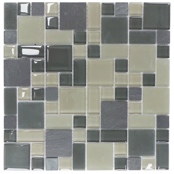 Parker Random Sized Glass and Stone Mosaic Tile in Gray and Beige by Mulia Tile