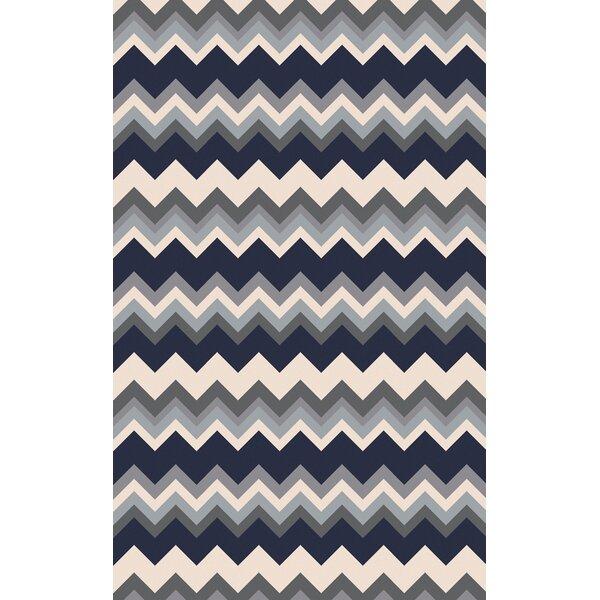 Diego Gray/Navy Chevron Area Rug by Ebern Designs