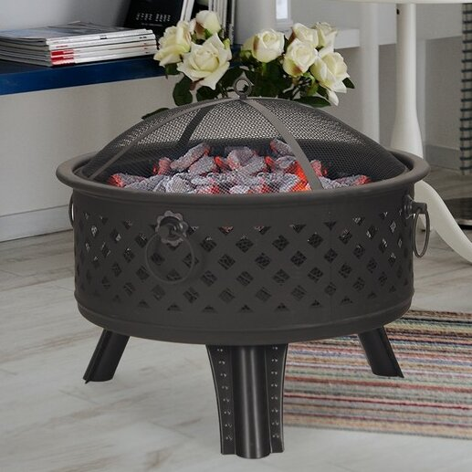 Sheet Metal Steel Wood Burning Fire Pit by Adeco Trading