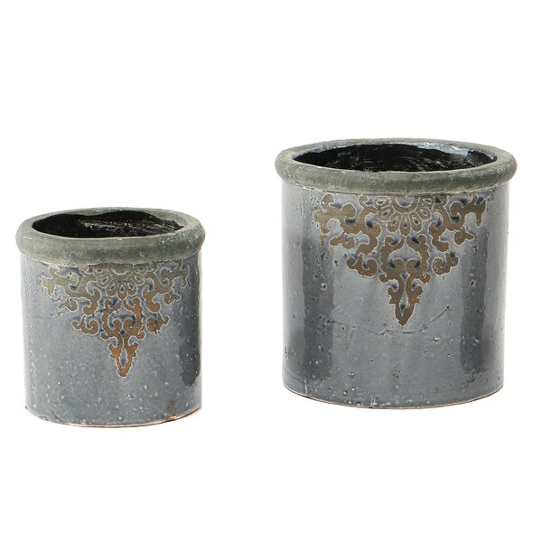Wickliffe Filigree French 2-Piece Pot Planter Set by Ophelia & Co.