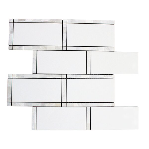 Mother of Pearl 3'' x 6'' Glass Subway Tile in White by Lion Tiles